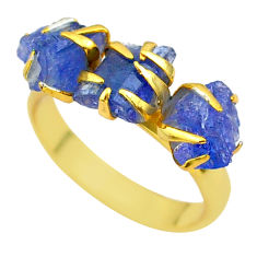 7.54cts solitaire natural tanzanite rough 14k gold handmade ring size 7 t29773