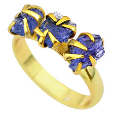 7.42cts solitaire natural tanzanite rough 14k gold handmade ring size 8 t29777