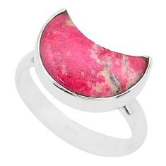 Moon natural thulite (unionite, pink zoisite) 925 silver ring size 7 t22039