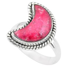 Moon natural thulite (unionite, pink zoisite) 925 silver ring size 7 t22161