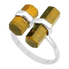 7.55cts solitaire natural tiger's eye 925 silver adjustable ring size 7.5 t36089