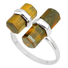 7.57cts solitaire natural tiger's eye 925 silver adjustable ring size 7.5 t36090