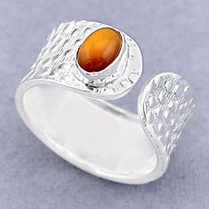 1.64cts solitaire natural tiger's eye 925 silver adjustable ring size 7.5 t47375