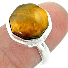 6.36cts solitaire natural tiger's eye 925 silver hexagon ring size 6.5 t55952