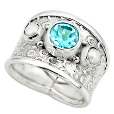 4.92cts solitaire natural topaz pearl 925 silver ring jewelry size 7.5 r49847