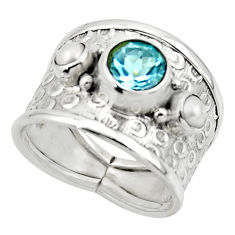 4.73cts solitaire natural topaz pearl 925 silver ring jewelry size 7.5 r49852