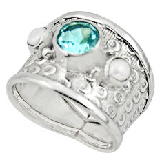4.52cts solitaire natural topaz pearl 925 silver ring jewelry size 7 r49849