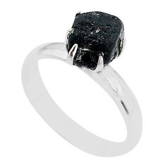 5.21cts solitaire natural tourmaline raw fancy 925 silver ring size 8 t21047