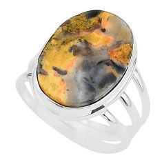14.82cts solitaire natural turkish stick agate 925 silver ring size 11 t17843