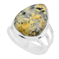 18.47cts solitaire natural turkish stick agate 925 silver ring size 11.5 t17841