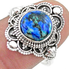 4.66cts solitaire natural turquoise azurite round silver ring size 8.5 t44965