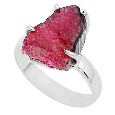 6.40cts solitaire natural watermelon tourmaline rough silver ring size 8 t10523