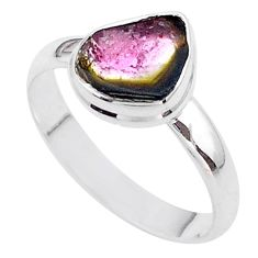 4.21cts solitaire natural watermelon tourmaline slice silver ring size 10 t46309