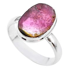 6.70cts solitaire natural watermelon tourmaline slice silver ring size 10 t46321
