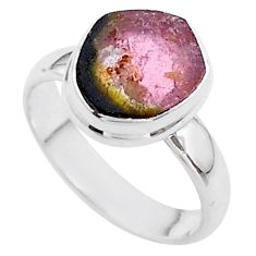4.33cts solitaire natural watermelon tourmaline slice silver ring size 6 t46312