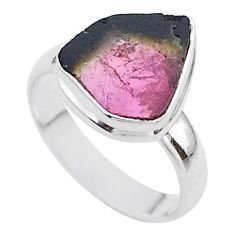 4.84cts solitaire natural watermelon tourmaline slice silver ring size 7 t46302