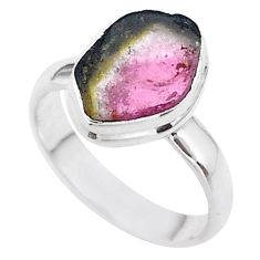 4.67cts solitaire natural watermelon tourmaline slice silver ring size 7 t46304