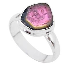 4.21cts solitaire natural watermelon tourmaline slice silver ring size 7 t46306