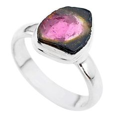 4.63cts solitaire natural watermelon tourmaline slice silver ring size 7 t46344