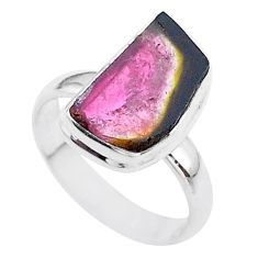 5.81cts solitaire natural watermelon tourmaline slice silver ring size 7 t46345
