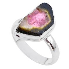 6.39cts solitaire natural watermelon tourmaline slice silver ring size 8 t46296