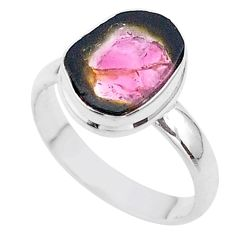 4.18cts solitaire natural watermelon tourmaline slice silver ring size 8 t46301