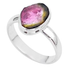 4.60cts solitaire natural watermelon tourmaline slice silver ring size 8 t46311