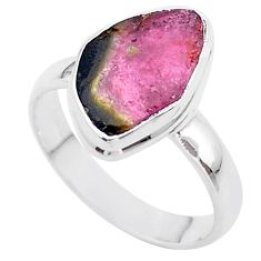 5.51cts solitaire natural watermelon tourmaline slice silver ring size 8 t46314