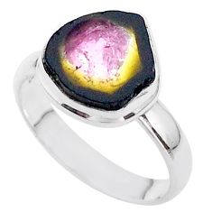 4.43cts solitaire natural watermelon tourmaline slice silver ring size 8 t46318