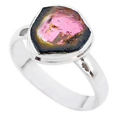 4.38cts solitaire natural watermelon tourmaline slice silver ring size 8 t46341