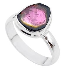 4.43cts solitaire natural watermelon tourmaline slice silver ring size 8 t46342