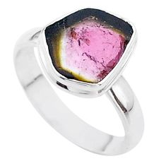 4.63cts solitaire natural watermelon tourmaline slice silver ring size 8 t46349