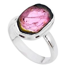 4.85cts solitaire natural watermelon tourmaline slice silver ring size 8 t46358