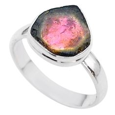 5.09cts solitaire natural watermelon tourmaline slice silver ring size 9 t46305