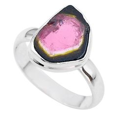 5.11cts solitaire natural watermelon tourmaline slice silver ring size 9 t46315