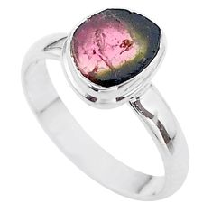 4.21cts solitaire natural watermelon tourmaline slice silver ring size 9 t46317