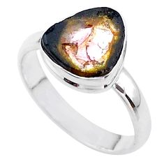 4.43cts solitaire natural watermelon tourmaline slice silver ring size 9 t46323