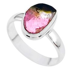 4.69cts solitaire natural watermelon tourmaline slice silver ring size 9 t46347