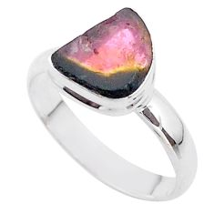 4.66cts solitaire natural watermelon tourmaline slice silver ring size 9 t46352