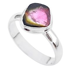 3.98cts solitaire natural watermelon tourmaline slice silver ring size 9 t46356