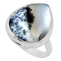 15.02cts solitaire natural white dendrite opal 925 silver ring size 8.5 r50389