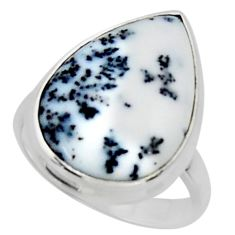 12.58cts solitaire natural white dendrite opal 925 silver ring size 6.5 r50395