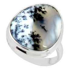 14.90cts solitaire natural white dendrite opal 925 silver ring size 8.5 r50821