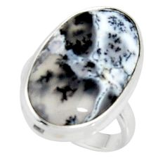 14.72cts solitaire natural white dendrite opal 925 silver ring size 5.5 r50842