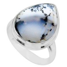 15.85cts solitaire natural white dendrite opal 925 silver ring size 10 t24683
