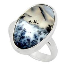 7.54cts solitaire natural white dendrite opal 925 silver ring size 6 r50381