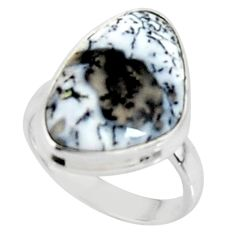 10.02cts solitaire natural white dendrite opal 925 silver ring size 6 r50841