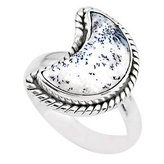 5.53cts moon natural white dendrite opal 925 silver ring size 6 t22169