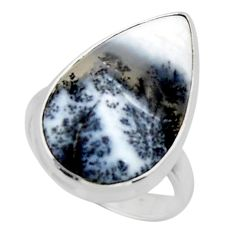 14.72cts solitaire natural white dendrite opal 925 silver ring size 7 r50391