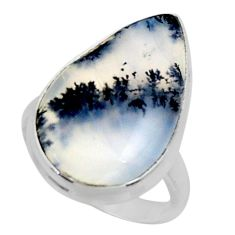 14.23cts solitaire natural white dendrite opal 925 silver ring size 7 r50398